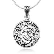 Sterling Silver Aum Om Ohm Hindu Sanskrit Celtic Moon Sun Symbol Round Pendant Necklace 46cm