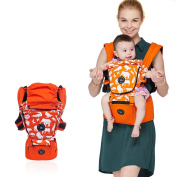 UBELA 100% Cotton Cute Animals Design Hip Seat Baby Carrier | Front and Back Carrier with Detachable Waist Stool | Comfy Multifunction 4 Seasons Breathable | Orange