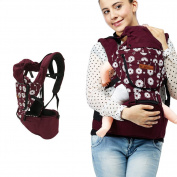 UBELA Backpack 4 in 1 Functional Baby Carrier Backpack | Front Back Baby Safety Carrier | Infant Comfort Sling Wrap Harness | Dandelion Printing | Red