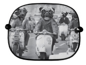 DOGS ON SCOOTERS BLACK & WHITE DESIGN CAR WINDOW SUN SHADES GREAT FOR CAR BUS CHILDREN