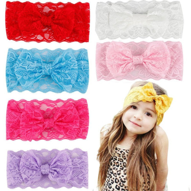 CHIC-CHIC 5 Pcs Kids Toddler Baby Girl Headband Elastic Lace Bow Flower Hair Band Accessories Headdress