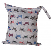 2-Zip Washable Baby Cloth Nappy Nappy Bag Dog Pattern