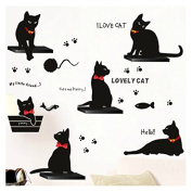 Samber Black Cats Family Wall Stickers for Home Decoration