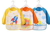 Kids Childs Arts Craft Painting Apron Baby Bib Messy Play Wipe Clean Coverall-Unisex Baby Waterproof Sleeved Bib Eat and Play Smock,Toddler Apron of PEVA Whale