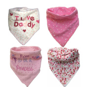 Unisex Baby Bandana Drool Bibs 4-Pack Pink Absorbent Cotton Bibs with Snaps