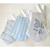 ZebraStory 3 Pieces Unisex Baby Bandana Bibs Feeding Cloth Absorbent Pure Cotton Burp Cloths Triangle Dribble Bibs for Infant Toddler