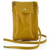 Mini Unisex Pouch With Pocket For Smartphone Colour Yellow - Leather Goods Made In Italy - Man Bag