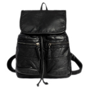Fletion . Soft PU Leather Backpack leisure Rucksack Schoolbag Travel Daypack Black