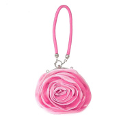 Dilize Women's Rose Flower Silk Evening Clutch Mini Wrist Bag Money Pouch