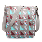 Miss Lulu Adorable Cross Body Bag Matte Oilcloth Printed Square Women Slouchy Shoulder Bag Multi Colour School Bags