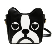 AiSi New Design Fashion Womens Cute PU Leather Dog Face Messenger Tote Shoulder Bag