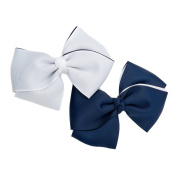 GIZZY® Girls Two Piece navy Blue and White Bows Hair Clip Set.