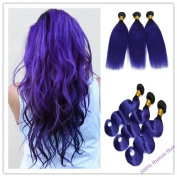 "Full Head Hair Weft Body Wave 100g/Bundle Length 14"" 16""18""20"" 22""24""100% Human Hair Extensions -Colour Blue-Purple .24""."