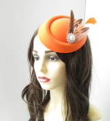 Orange Brown Silver Pheasant Feather Pillbox Hat Fascinator Vintage Races 40s 26 *EXCLUSIVELY SOLD BY STARCROSSED BEAUTY*