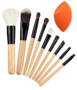 Beauty Nymph 9Pcs Bleached wood makeup brush sets Face Cheeks Powder Cosmetic Tool Brush with Makeup Blender Sponge×1Pcs