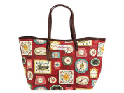 Cath Kidston matt oilcloth large leather trim tote clocks red