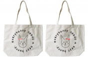 Soramee Women's Bff Matching Canvas Tote Bag - Everybunny Needs A Best Bunny