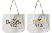 Soramee Women's Brunette And Blonde Best Friend Matching Canvas Tote Bag