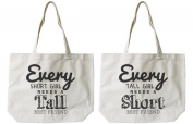 Soramee Women's Short And Tall Best Friend Matching Canvas Tote Bag