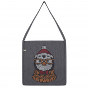 Twisted Envy Hipster Xmas Penguin Rhinestone Tote Bag