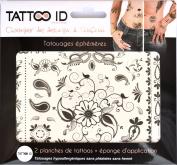TATTOOID Temporary Tattoo Oriental. 2 slides + 1 cosmetic sponge