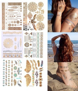 Set Of 6 GOLD Tattoos Flash Tattoo Kit BEAUTIFUL HOLIDAYS over 100 Motive HOLI-01