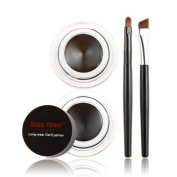 JACKY 2Pcs Waterproof Eye Liner Eyeliner Shadow Gel Makeup Cosmetic Brush Brown Black