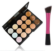 LyDia® 15 Colours Cream Concealer/Highlight/Face Contour Camouflage Palette Dull/Redness Skin/Black Circle kit set + LyDia® Red Hot Pink-1049 Flat Angled Makeup Brush #1