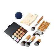 15 Colours Makeup Concealer Palette + 11 PCS Bamboo Brush + 1 PC String Makeup Bag + 1 PC Makeup Sponge