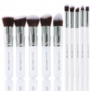 Imurz Professional 10-Piece White and Silver Make-up Brushes Set Exquisite Kit