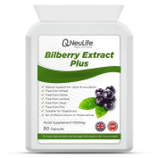 Bilberry Extract Plus 1000mg - 90 Capsules - by Neulife Health and Fitness