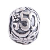 50th Birthday Charm Bead - Sterling Silver 925 - fits Pandora Biagi & Trollbeads Bracelets