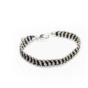 Ladies Silver Love Charm Studded with Diamonds Bracelet from Your Trailer Cotton, Length 22 cm