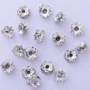 50pcs 6x10mm lotus flower vintage beads cap,filigree beads cap,end cap,flower spacer metal beads,Antique Silver