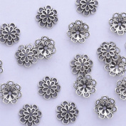 lots of 50pcs 10mm hollow out flower vintage beads cap,filigree beads cap,end cap,flower spacer metal beads,Antique Silver