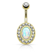Gold-plated Belly Bar Opal