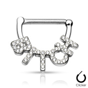 Silver and Crystal 316L Surgical Steel Septum Piercing (Nose) - Bitch