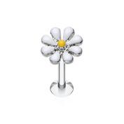 White Enamel Daisy - 1.2mm x 8mm Labret Stud - For Helix, Tragus, Lip Piercings - Pierced & Modified Body Jewellery
