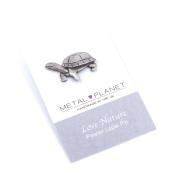 Tortoise pewter pin badge by Luna London, UK. Gift