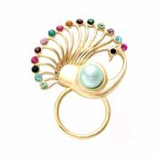 NOUMANDA Women Bijoux Jewellery Colourful Crystal Peacock Magnetic Clip Holder Sunglass Hanger Magnetic Eyeglass Holder Pin