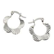 Flower Creole Earrings in Sterling Silver