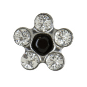 Studex Sensitive Regular Clear and Jet Black Crystal Daisy Stainless Steel Stud Earrings 5mm Setting
