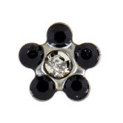 Studex Sensitive Regular Jet Black and Clear Crystal Daisy Stainless Steel Stud Earrings 5mm Setting