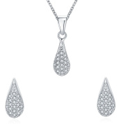 925 Sterling Silver Teardrop Jewellery Set - Stud Earrings and Pendant Necklace - With 46cm Silver Rolo Chain in Gift Box - Ideal Valentine/Anniversary/Birthday Gift for Her/Girls/Women