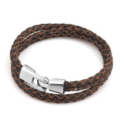 Isajewelry Brown Leather Bracelets For Men With Stainless Steel Clasp