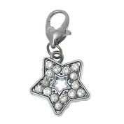 Ladies / 22045 / Rhinestone Charm Trailer For Bracelet Star 32,5x17mm