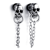 MENDINO Mens Women Skull Chain Gothic Drop Dangle Silver Stainless Steel Stud Earring with Gift Pouth