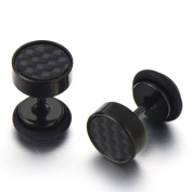 MENDINO Jewellery Mens Stainless Steel Carbon Fibre Black Colour Stud Earrings with Gift Pouth