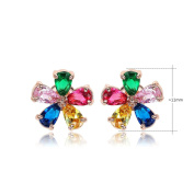Waterlucy Cute Colourful 5 Tone Flower Cubic Zirconia Stud Earrings 18ct Rose Gold Plated
