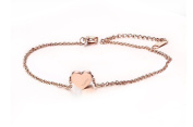 Vnox Stainless Steel Rose Gold Heart Charm Lucky Anklet Delicate Foot Chain with Extension Chain for Women Girls